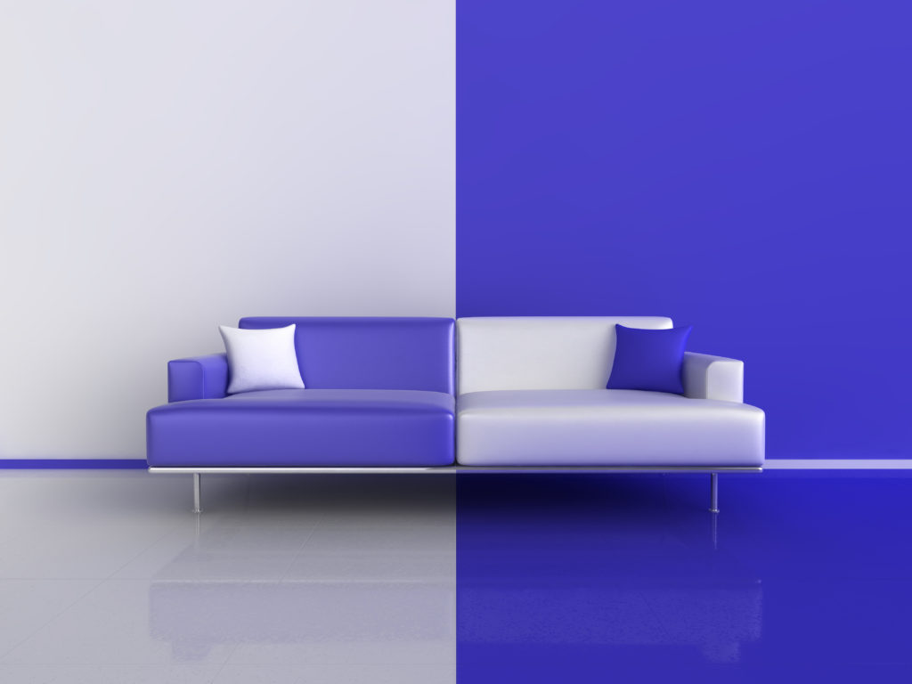 Blue and White Contrast Sofa